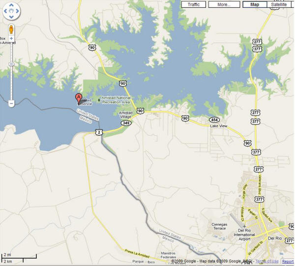 Map of Lake Amistad and Del Rio